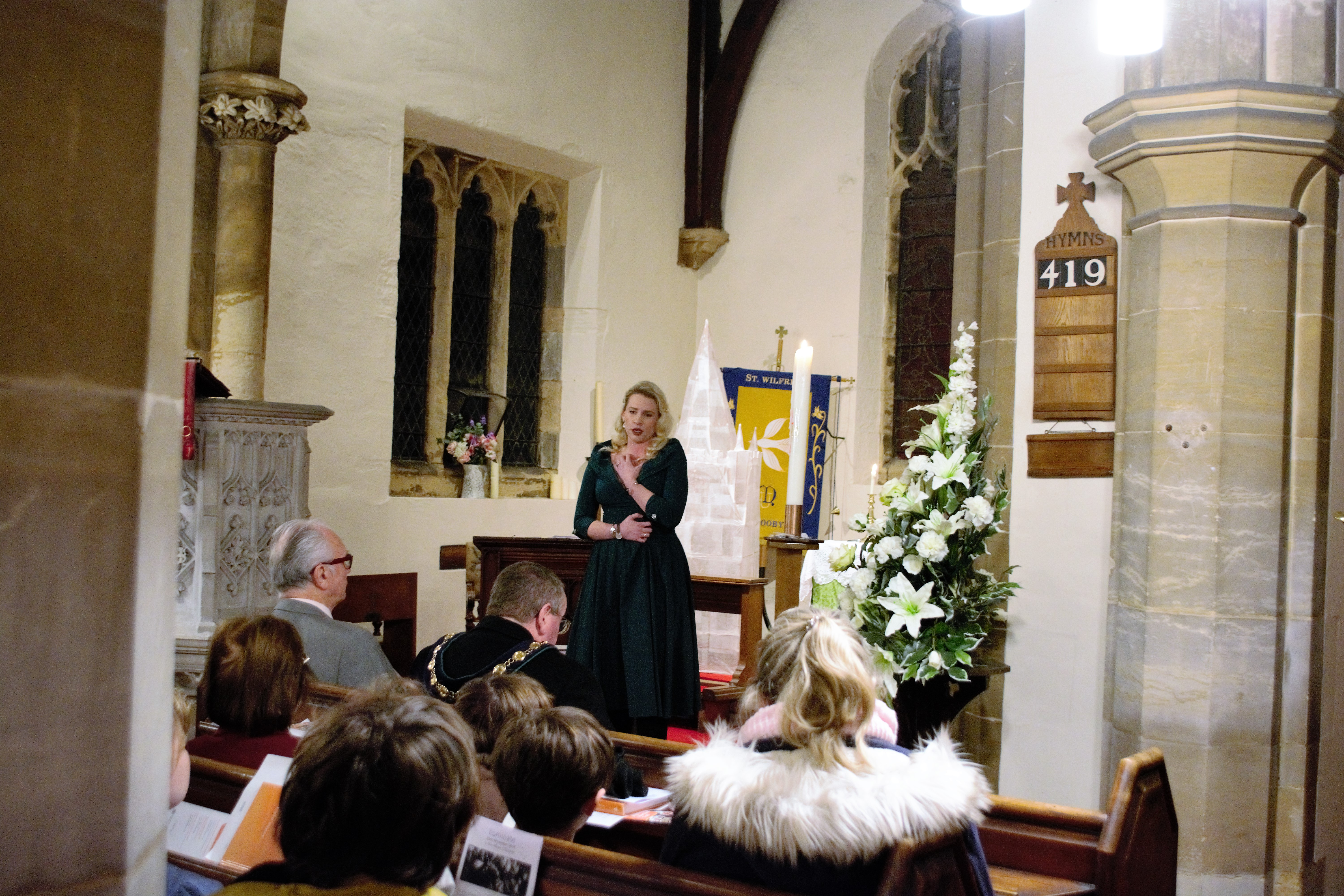 Kamilla Dunstan performs in Scrooby Church