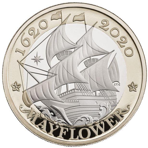 2020 United Kingdom £2 BU Coin Voyage of the Mayflower 400 Years 1620